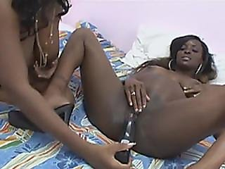 Two Lusty Pregnant Ebony Women Are Playing With Sex Toys On The Bed