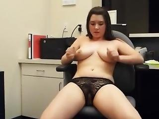 Busty Girl Records Herself Playing In Her Office Cubicle