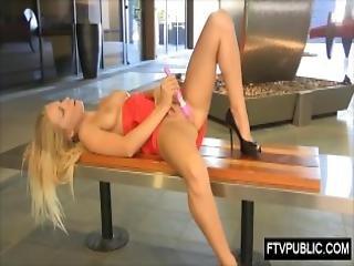 Hot Blonde Public Self Sex In Business Area