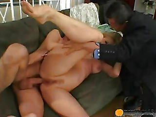 Beauty On The Couch Fucks Man