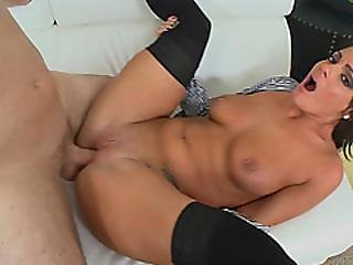 Charming Brunette Milf Spoon Fucked By Thick Cock Younger Dude