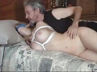 To hairy bed tied naked girl pussy