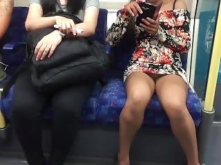 Daring Public Upskirt Flashing On A Train In London (ivoyeur)