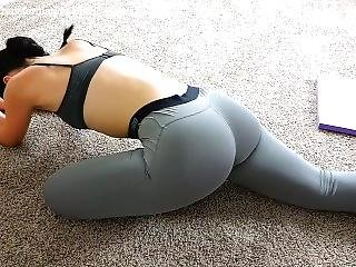 Big Ass Brunette Milf Butt Workout In Tight Grey Leggings Exposing Her Ass!