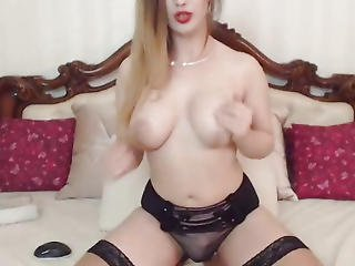 Pretty T-girl With Large Dong Pleasures On Webcam