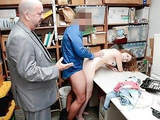 Shoplyfter - Arrested And Fucked In Front Of Her Daddy