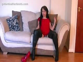 Busty Brunette Milf Puts On Leather Boots To Compliment Panties And Nylons