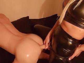Guy Gets Tight Ass Painfully Pegged By Latex Mistress With Huge Strapon