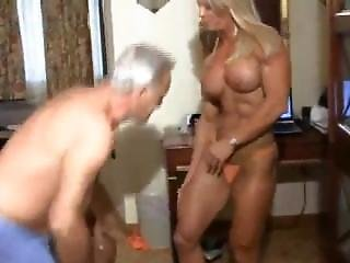 Sexy Mature Muscle Queen Ginger Messes Around With Some Old Loser