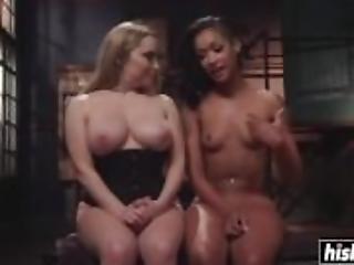 Lesbians enjoy hardcore BDSM pleasures together