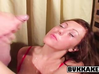 Horny Redhead Gets Her Load Of Cum On Her Slutty Face