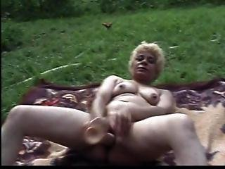 Mature Blonde Bitch Satisfies Hole Outdoors