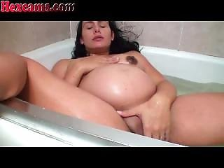 Amateur, Bain, Fille Webcam, Masturbation, Preggo, Bain, Webcam