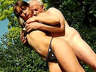 Brunette Teen Seduced Into Giving Head To Old Stud