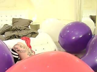 balon, blondine, reiten