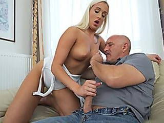 Old Stepdad Fucks Teen Stepdaughter When Mom Is Away