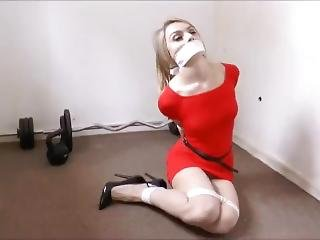 Chloe Toy - Tape Gagged In Red Dress