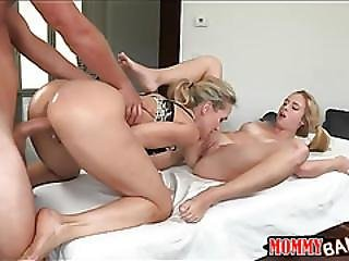 Stepmom Teaches Teen How To Satisfy Cock On Massage Table