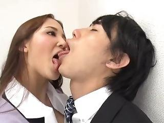 Tongue Kissed By Femdom Office Lady