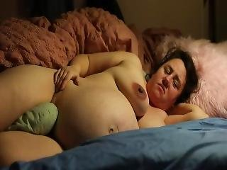 Pillow Humping Pregnant Wife Talks Dirty To Her Husband Who Jerks To Her