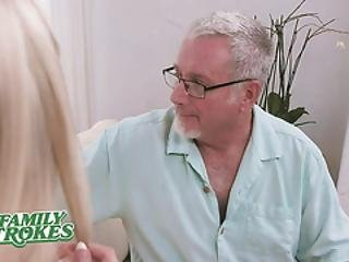 Familystrokes - Sexy Teen Caught By Her Grandpa Has To Suck His Dick