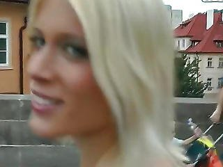 A Stunning Blonde In A Sexy Mini Skirt,she Looked More Like A Model Than A Tour Guide.