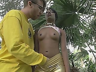 Young Black Honey Spreads Buttocks And Gets Fucked By Tattooed White Daddy