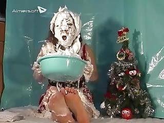 Messy Girl Get Pie And Tickle