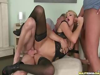 zadek, sex do zadku, blonďaté, dvojité vniknutí, šukání, hardcore, nylon, vniknutí, sex, Mladý Holky, trojka, mladé