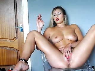 Super Hot Blonde Chick Smoking Masturbation