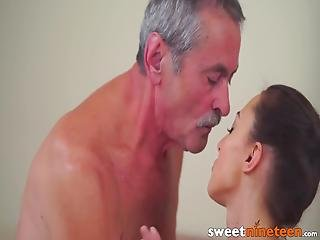 19yo Teen Screwed After Sucking Grandpas Rock Hard Cock! Katy Rose Always Wanted To Try Out An Experienced Cock And She Absolutely Loved It!
