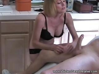 Handjob from excited amateur milf