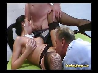 Busty Beautie In Her First Gangbang