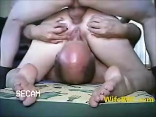 Cuckold - Husband Sucks Cunt While Wife Is Fucked Analy
