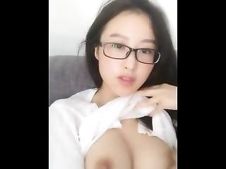Chinese Cam Model Masturbates Wearing Glasses