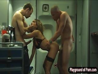 Feisty Stewardess Katsuni Hot Threesome With The Pilots