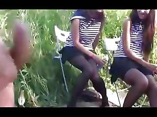 Flashing Amateur Russian Teen On Blach Pantyhose In The Wood