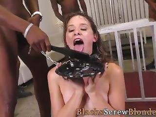 Caged Slut Licks Bbc Cum