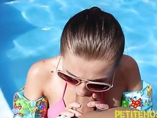 amatör, avsugning, avrunkning, oskyldig, utomhus, party, nätt, pool, Tonåring, liten