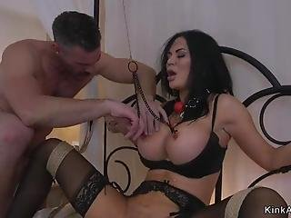Biker Ties Up And Fucks Huge Tits Hottie