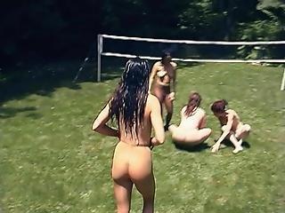 4 Girls In Pantyhose Under The Sun