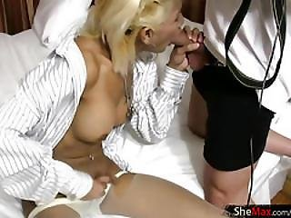 Blonde Asian Ts In White Pantyhose Tugs Her Juicy Shecock