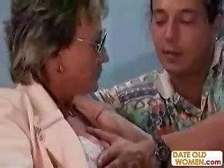Wrinkle Granny With Glasses Suck Young Cock