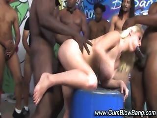 Blonde Gets Interracial Gang Banged
