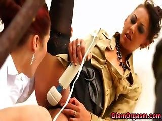 Euro Lesbians Love Orgasms From Vibrator