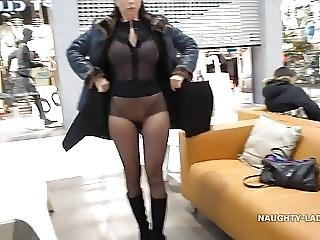 My Transparent Shirt Pantyhose And Upskirt Flashing