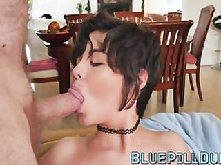 Short Hair Brunette Teen Fucked By Two Big Old Cock Dudes