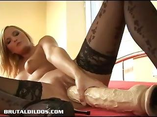 Petite Blonde Russian Petra Fucking A Big Brutal Dildo