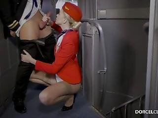 Nylon Stockings Stewardess Airplane Fucking Girl