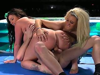 Messy Wrestling Match Turns Into A Threesome Fuck